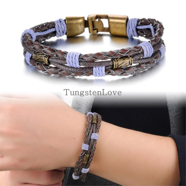22cm New Punk Alloy  Bracelets Bangles Genuine Leather - Fashion Cornerstone