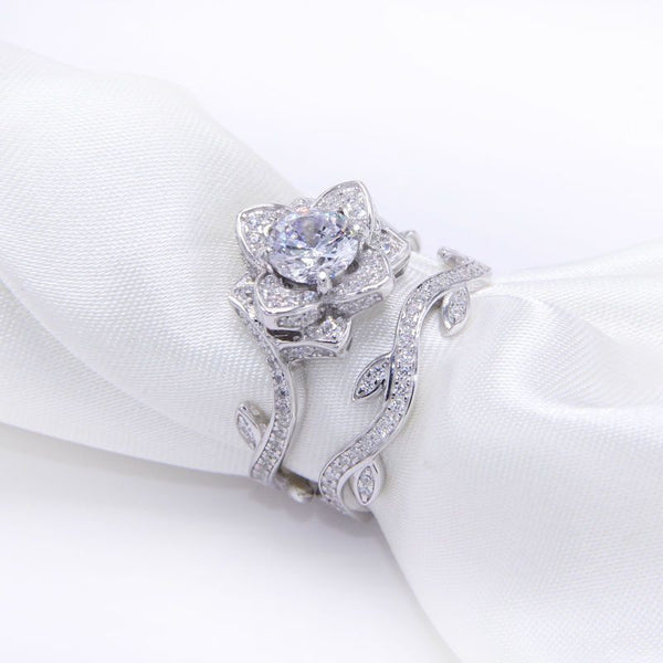2.3 Ct Rose Flower White Gold Plated Wedding Ring - Fashion Cornerstone