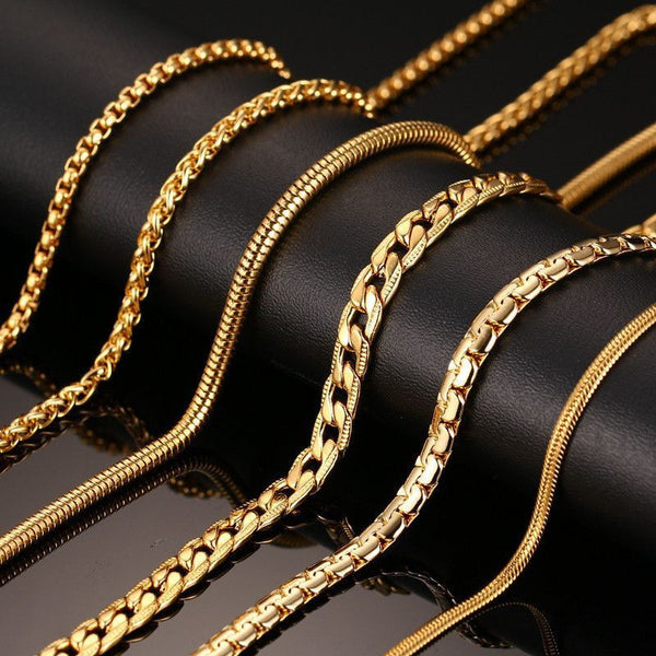 24inch Gold Plated Chain Necklace Long Stainless Steel - Fashion Cornerstone