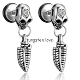 2pcs of Stainless Steel Leaf Skull Fake Ear