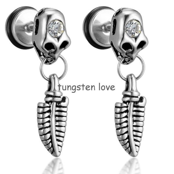 2pcs of Stainless Steel Leaf Skull Fake Ear - Fashion Cornerstone