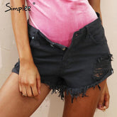 50's Vintage ripped hole fringe blue denim shorts