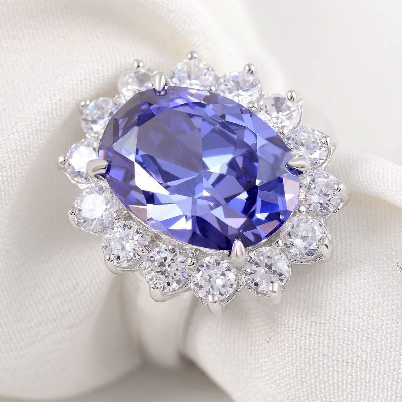 6 Carats Blue Stone 925 Sterling Silver Ring Wedding