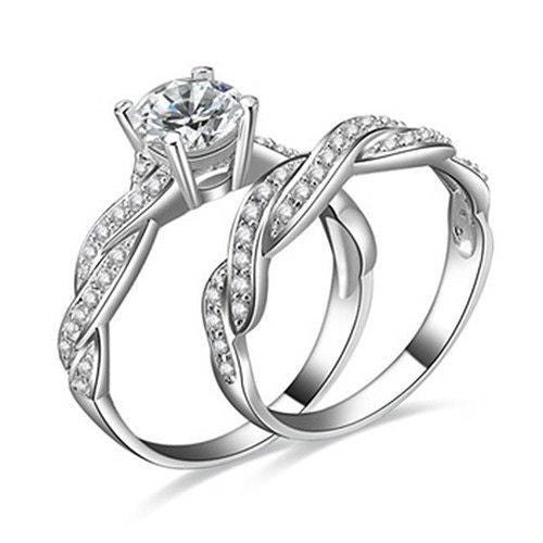 925 Rhinestone Engagement Wedding Ring Set