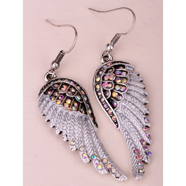 Angel wings dangle earrings antique gold silver plated - Fashion Cornerstone