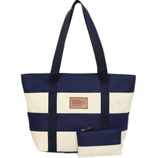 Beach Canvas Bag Fashion Color Stripes Printing Handbags