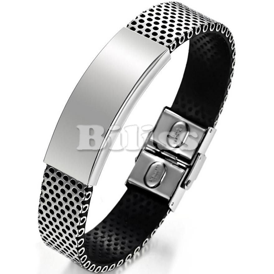 Black Genuine Leather Bracelet  Stainless Steel