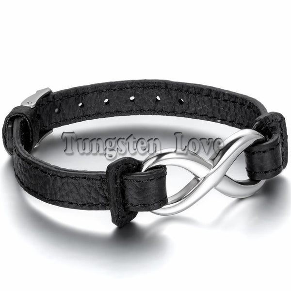 Black Leather Bracelet Stainless Steel Charm Infinity Bracelet - Fashion Cornerstone