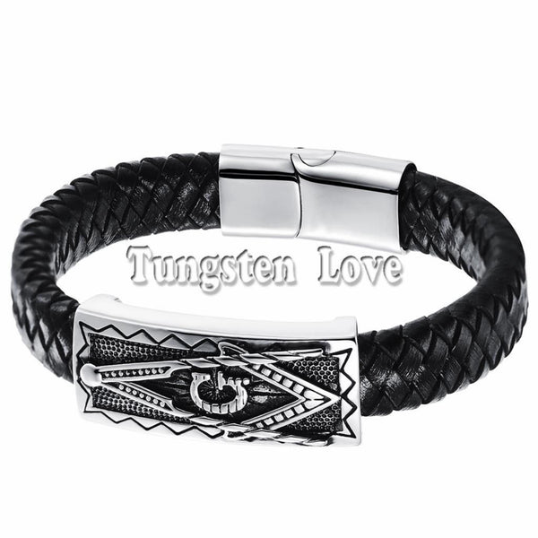 Black PU Leather Bracelet Cuff Braided Charm - Fashion Cornerstone