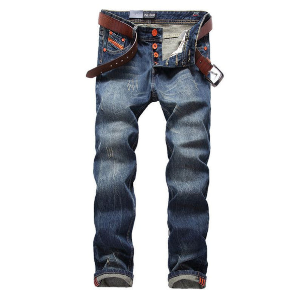Blue Jeans Men Straight Denim Jeans Trousers - Fashion Cornerstone