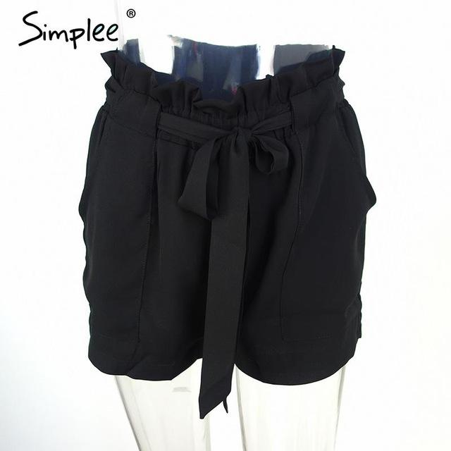 Bow high waist belt shorts