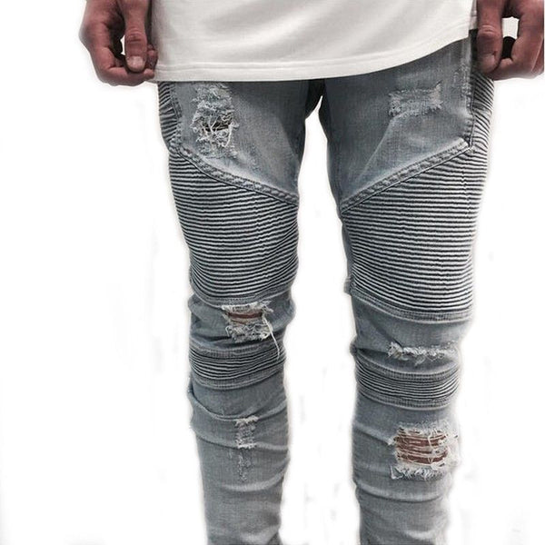 Casual Denim distressed Men's Slim Jeans pants - Fashion Cornerstone