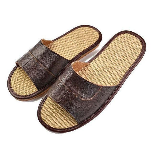 Casual Men Sandals Summer Leather Linen Slippers - Fashion Cornerstone