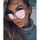 Cat Eye Sunglasses Women Fashion Twin-Beams Rose Gold Mirror