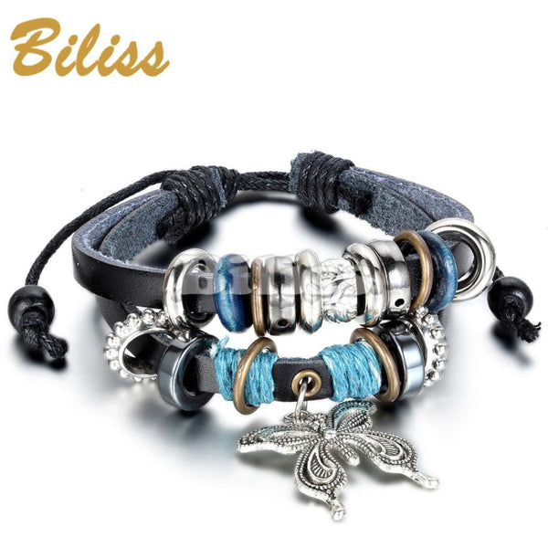 Charm Bangle Vintage Multilayer Butterfly Wood Bead Leather - Fashion Cornerstone