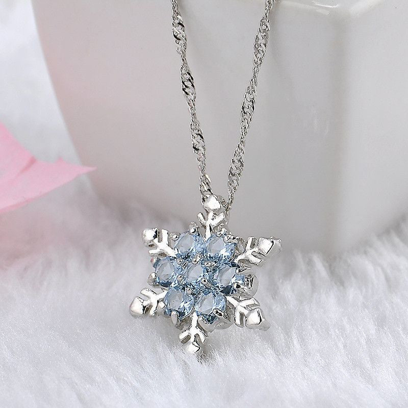 Charm Vintage lady Blue Crystal Snowflake Zircon Flower Silver Necklaces