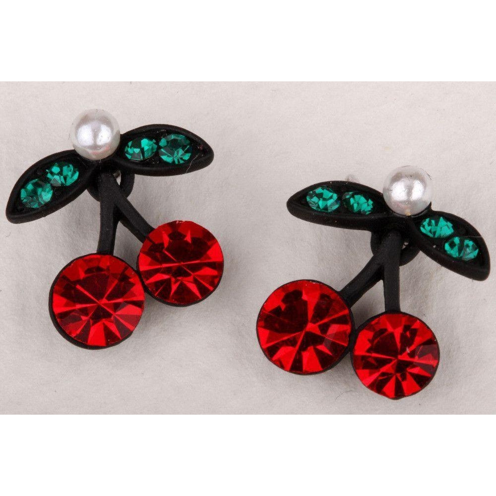 Cherry stud earrings crystal
