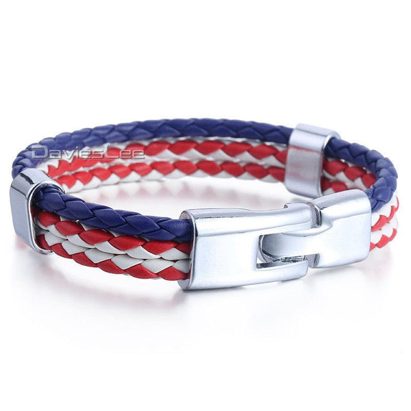 Dark Blue White Red US/American Flag Color 3 Strands - Fashion Cornerstone