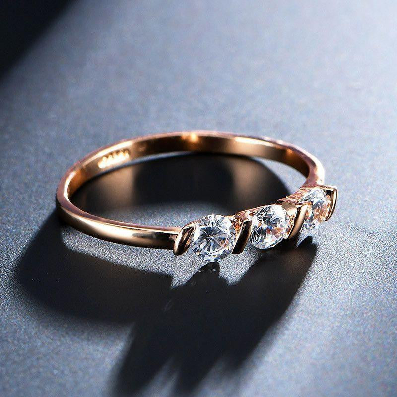 Diamond Wedding rings Rose Gold Plated