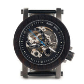 Ebony Wood Mens Watches Vintage Bronze Skeleton Clock watch