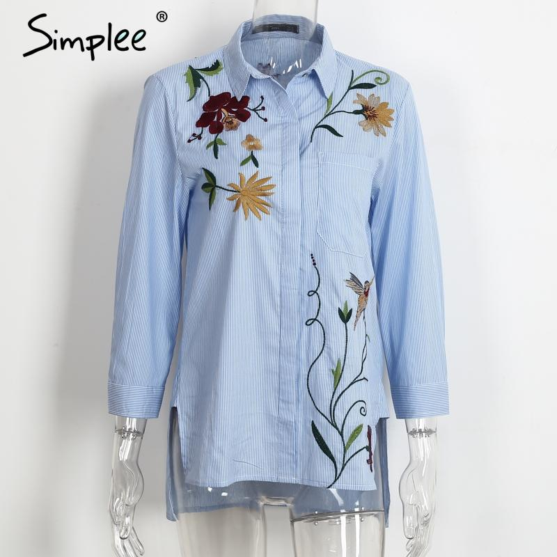 Embroidery long sleeve blouse