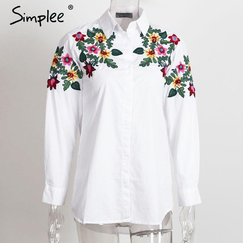 Embroidery white blouse shirt