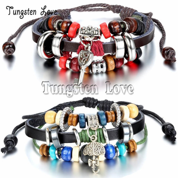 Europe Vintage leather Bracelets Tribal Wood-Bracelet-Fashion Cornerstone