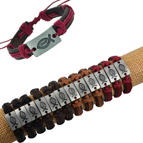 Genuine Leather bracelet bangles JESUS charm-Charm-Fashion Cornerstone
