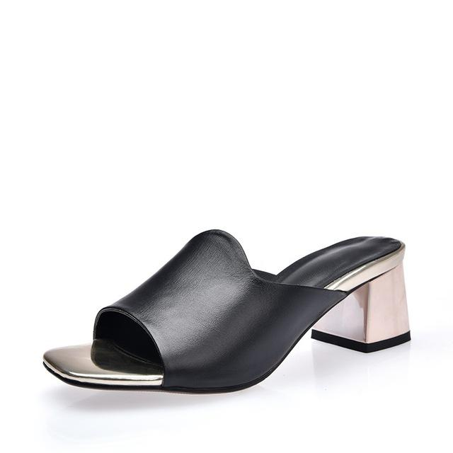 Genuine leather shoes mid heels
