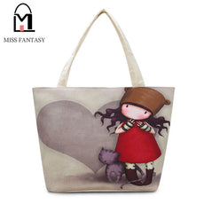 Girl Printed Canvas Tote Female Casual Beach Bag