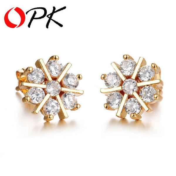 Gold Plated Snowflake Earring With AAA Zircon Crystal-Stud-Fashion Cornerstone