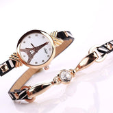 Gold Watch Black White Leather Bracelet Watch