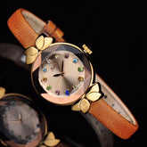 Lady Wrist Watch Quartz Bracelet Leather Multicolored Crystal Knot