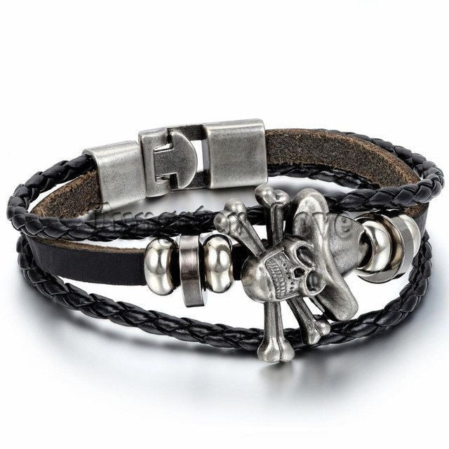 Leather Bracelet Piece Skull Bracelets