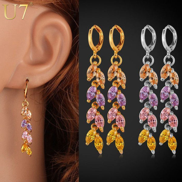 Long Leaves Earrings Gold Plated-Drop-Fashion Cornerstone