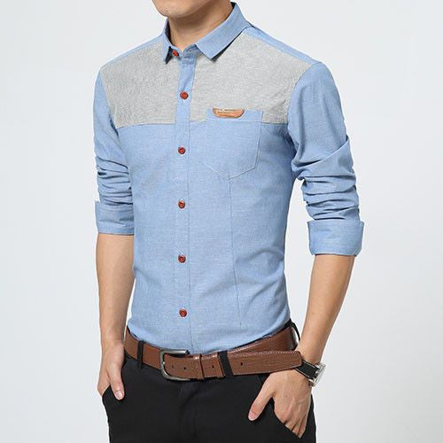 Long Sleeve Patchwork Slim Fit Shirt