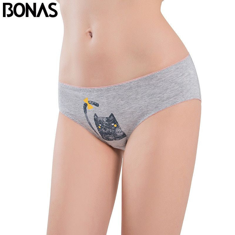 Low Rise Cotton Women's Briefs Cat Printing Style