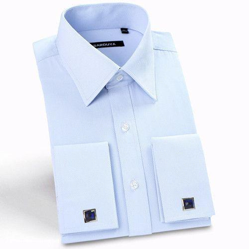 Luxury French Cuff Solid Color Dress Shirts