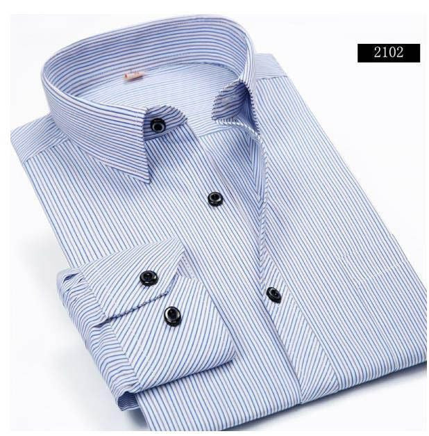 Men Striped Dress Shirt Formal Fashion