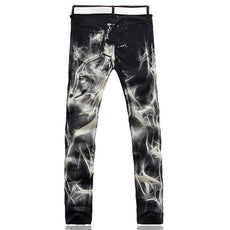 Men's fashion wolf print stretch denim jeans