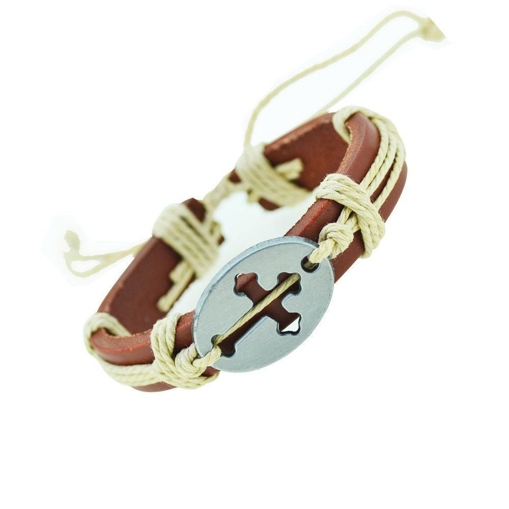 Mixed Cross charms Leather Bracelets & Bangles