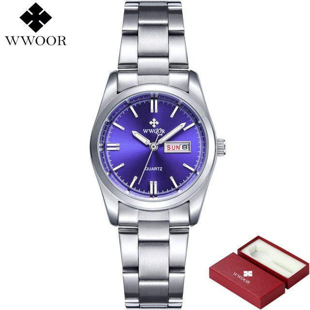 New Date Day Clock Female Stainless Steel Watch