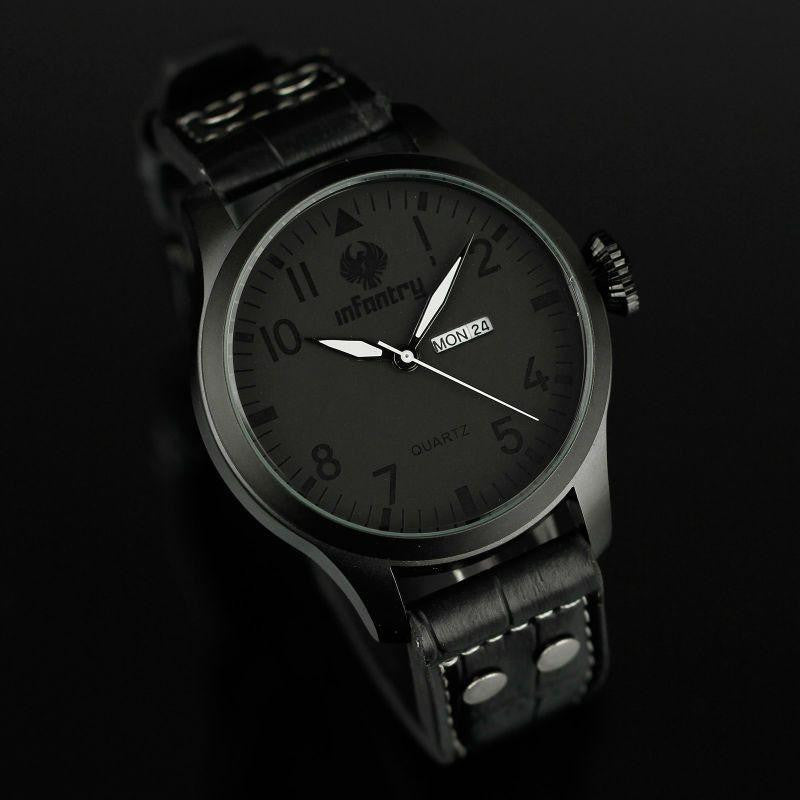 New Men's Quartz Watches Black Leather Strap