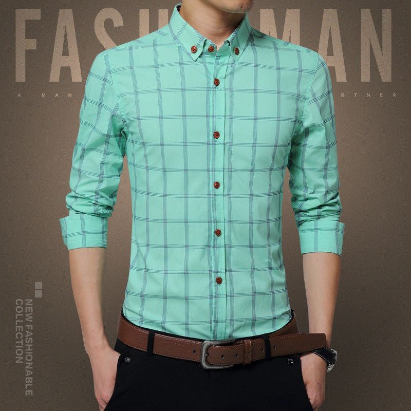 New Plaid Shirt Men Fashion