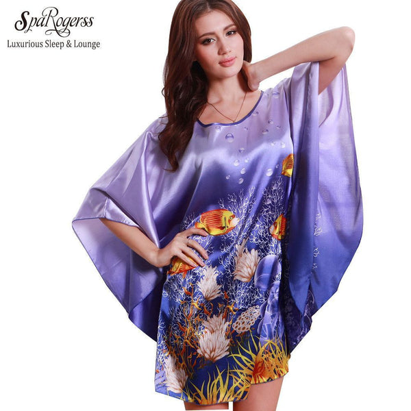 Plus Size Silk Lady Sleepwear Dressing Gown Female - Fashion Cornerstone