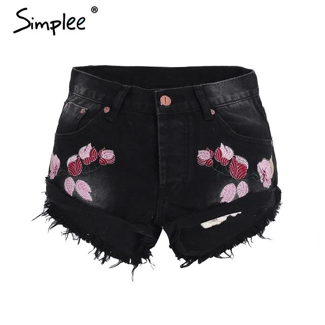 Punk rivet floral embroidery shorts