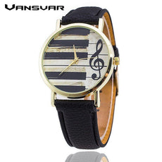 Quartz Watch Vintage Leather Strap Piano Keys Watch