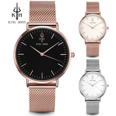 Rose Gold Silver Leather Steel Quartz Wrist Watch