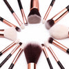 Rose Gold/Black Professional Makeup Brushes Set