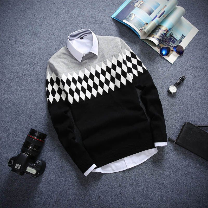 Round neck long-sleeved men's sweater
